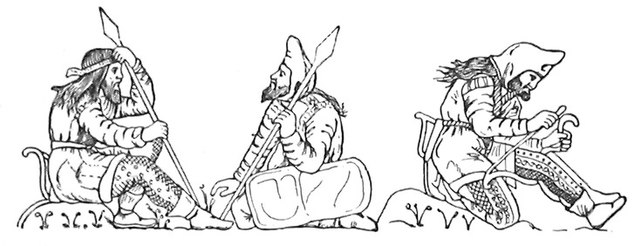 Scythian warriors, drawn after figures on an electrum cup from the Kul-Oba kurgan burial near Kerch, Crimea. The warrior on the right strings his bow, bracing it behind his knee; note the typical pointed hood, long jacket with fur or fleece trimming at the edges, decorated trousers, and short boots tied at the ankle. Scythians apparently wore their hair long and loose, and all adult men apparently bearded. The gorytos appears clearly on the left hip of the bare-headed spearman. The shield of the central figure may be made of plain leather over a wooden or wicker base. (Hermitage Museum, St Petersburg) Scythian Warriors.jpg