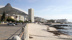 Sea Point - Sea Point Beach Front with Lion's Head as a backdrop