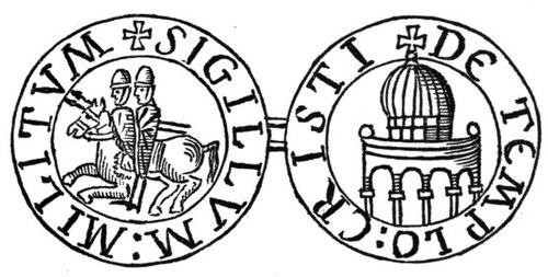 テンプル騎士団の紋章一頭の馬に跨る二人の騎士は、清貧の精神及び騎士にして修道士という二重性を表現している。