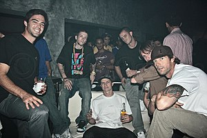 Danny Way - Danny Way (far right foreground) with other skaters, 2007 (photo: Dilia Oviedo)