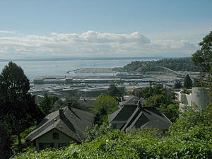 Smith Cove (Washington) - Smith Cove, with Elliott Bay Marina in the distance and Port of Seattle piers in front of that. Seen from the Betty Bowen Viewpoint on Queen Anne Hill. The Magnolia Bridge is at right.