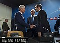 Secretary of Defense Chuck Hagel shakes hands with Georgian Minister of Defense Irakli Alasania.jpg