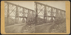 Eastview, New York - A stereoscopic view of the trestle at Eastview