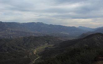 Sespe Creek - Upper Sespe Creek, from the top of Dry Lakes Ridge, looking east