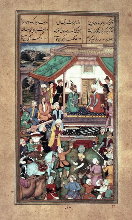 Shah Tahmasp provided Humayun with 12,000 cavalry and 300 veterans of his personal guard along with provisions, so that his guests may recover their lost domains. Shah Tahmasp and Humayun.jpeg