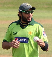 Shahid Afridi at the County Ground, Taunton, during Pakistan's 2010 tour of England - 20100902.jpg