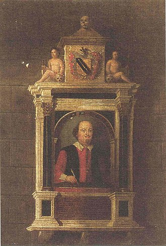 Shakespeare's funerary monument - Painting of monument by limner John Hall made before its 1748–9 restoration.