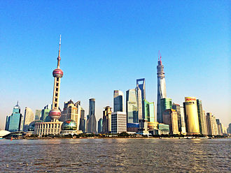 Central business district - Lujiazui, Shanghai's CBD.