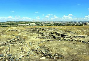 Yerevan - Foundations of Shengavit historical site (site settled 3200 BC cal to 2500 BC cal)