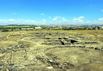 Foundations of Shengavit historical site (site settled 3200 BC cal to 2500 BC cal)