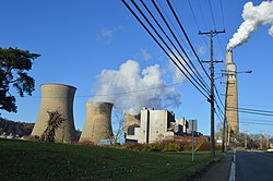 Cooling towers at the Bruce Mansfield Coal Power Station