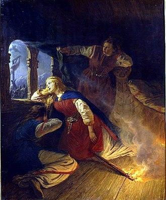"""Hagbard and Signy - """"Signhild"""" (1861) by Josef Wilhelm Wallander."""