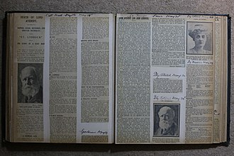 John Lubbock, 1st Baron Avebury - Pages from a book of obituary cuttings following the death of Sir John Lubbock in 1913.