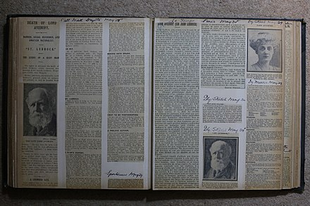 Pages from a book of obituary cuttings following the death of Sir John Lubbock in 1913.