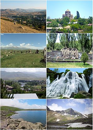 From top left: Sisian skyline • Surp Hovhannes Monastery of 691Zorats Karer archaeological site • Artsakh War memorialVorotan River • Shaki WaterfallTolors reservoir • Zangezur Mountains