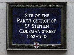Site of parish church of st stephen coleman street 1452 1940 (city of london)