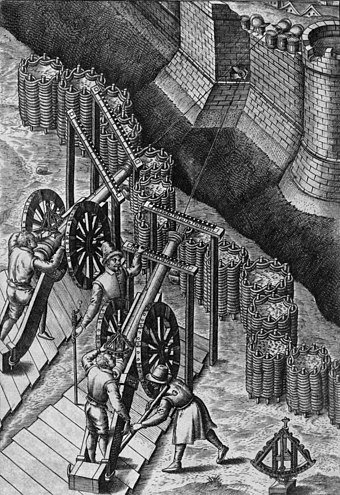 Late 16th-century illustration of cannon with gabions. Sixteenth Century Cannon2.jpg