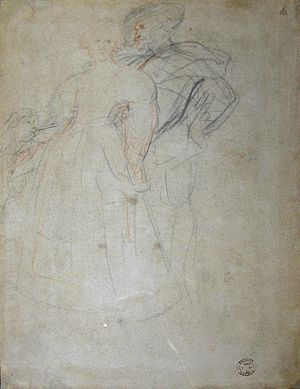 Isabella Brant (drawing) - Sketch of Peter Paul Rubens with Hélène Fourment and child found on the reverse side of the drawing of Isabella Brant.