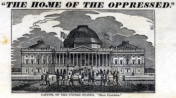 A group of shackled slaves walk past the U.S. Capitol in 1836 Slaves in Washington DC 1836.jpg