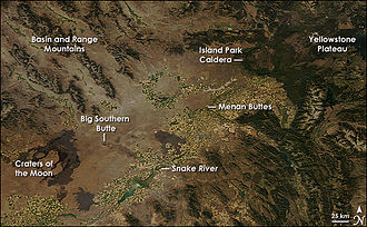 Snake River Plain - The eastern Snake River Plain, image from NASA's Aqua satellite, 2008