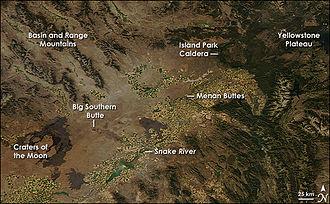 Snake River Plain - The eastern Snake River Plain, image from NASA's Aqua satellite, 2008