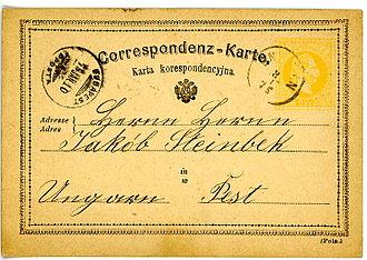 Sniatyn - Austrian postal card sent in 1875 from Sniatyn, Polish version
