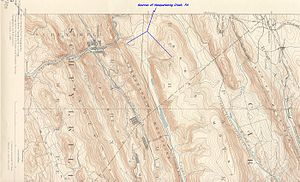 Nesquehoning Creek - Twin sources of Nesquehoning Creek as Nesquehoning Mountain and Broad Mountain merge in the saddle above Tamaqua, Pennsylvania and below the drainage divide from the Little Schuylkill River below and west. (Image is rotated so east is at bottom)