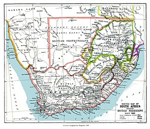 British Bechuanaland - An 1885 map showing the Bechuanaland Protectorate prior to the creation of the crown colony of British Bechuanaland and the Heligoland–Zanzibar Treaty.