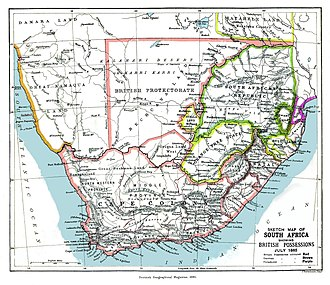 Bechuanaland Protectorate - An 1885 map showing the Bechuanaland Protectorate prior to the creation of the crown colony of British Bechuanaland and the Heligoland–Zanzibar Treaty.