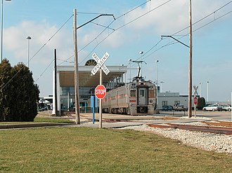 South Bend Airport station - A South Shore Line train at South Bend Airport (2004)