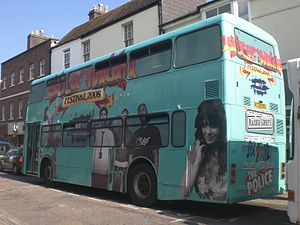 Isle of Wight Festival 2008 - An Island-based Southern Vectis bus featured complete all over advertising for the Isle of Wight Festival in 2008.