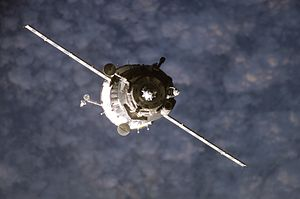 Soyuz TMA-10 - Soyuz TMA-10 spacecraft approaches the International Space Station.