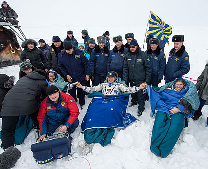 Soyuz TMA-10M crew shortly after landing.jpg
