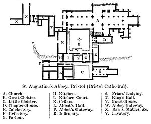 Bristol Cathedral - Plan of Bristol Cathedral Published in Encyclopædia Britannica 1902
