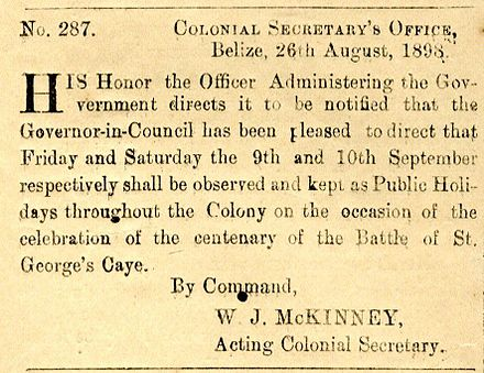 An excerpt from the 1898 Gazette that declared 10 September an official holiday, part of the efforts of the Centennial Committee St. George's Cay Day Official Holiday.jpg