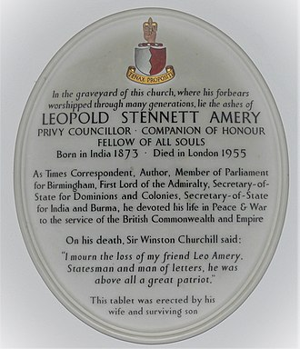Plaque celebrating Leo Amery in the church of St John the Baptist in Lustleigh, Devon St John the Baptist's church, Lustleigh (1506).jpg
