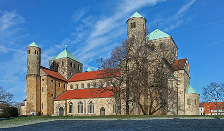 St. Michael's Church, Hildesheim, 1010s. Ottonian architecture draws its inspiration from Carolingian and Byzantine architecture. St Michaels Church Hildesheim.jpg