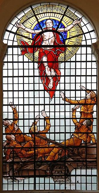 St Peter upon Cornhill - Tank Regiment memorial window by Hugh Easton