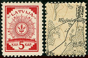 Postage stamps and postal history of Latvia - First stamp of independent Latvia, 1918