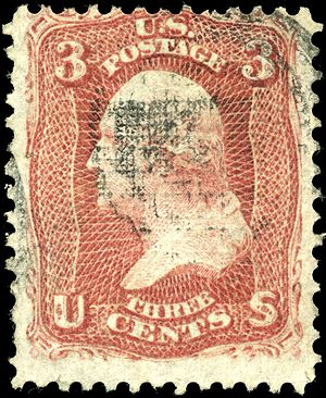 Grill (philately) - The F grill on this 1867 stamp is visible as a grid pattern in the ink of the cancellation.