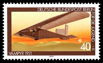 Hannover H 1 Vampyr - The Vampyr, commemorated in a 1979 West German postage stamp, showing the 1922 warping wing and the 1923 extended rudder