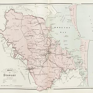 County of Stanley, Queensland - Map of Stanley county in 1886