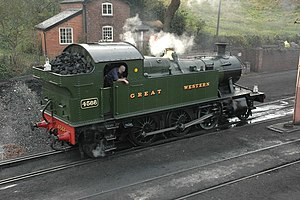 "Great Western Railway Power and Weight Classification - A preserved GWR 4500 Class steam locomotive, showing power classification ""C"" on a yellow route restriction disc, on the upper cab side-sheet"