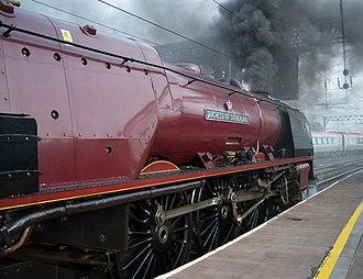 LMS Princess Coronation Class 6233 Duchess of Sutherland - Image: Steam locomotive 6233 Duchess of Sutherland Carlisle Royal Scot 10 Oct 2009 pic 5