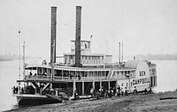 A paddle steamer from the 1850s.