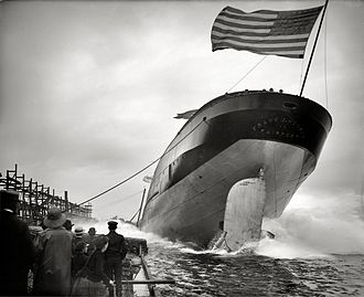 Ceremonial ship launching - Sideways launch of lake freighter Frank J. Hecker, St. Clair, Michigan. 1905