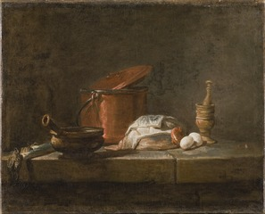Still Life with Kitchen Utensils and Vegetables