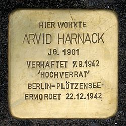 Photo of Arvid Harnack brass plaque