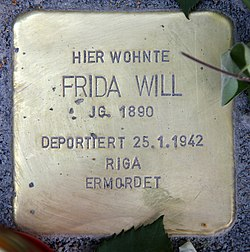 Photo of Frida Will brass plaque