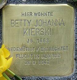 Photo of Betty Johanna Kierski brass plaque